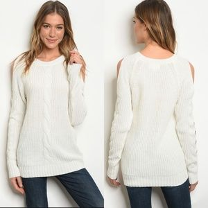 Sweaters - Arriving Soon-Ivory cold shoulder tunic sweater